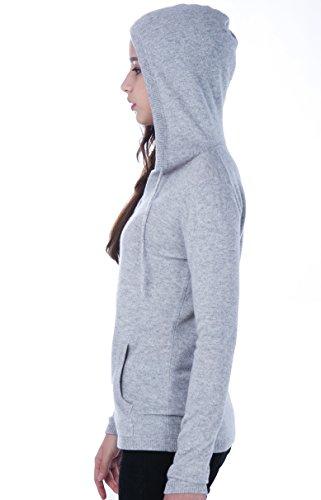 100% Kaschmir V-Ausschnitt Kordelzug Hoodie Pullover für Frauen - von CASHMERE 4 U (Large, Argent (Garu)) - 5