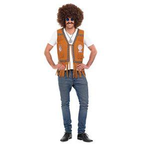 Fun Shack Chaleco Hippie Disfraz Para Hombres, Disfraces Carnaval Hombre Disponible en Tallas M,L,XL