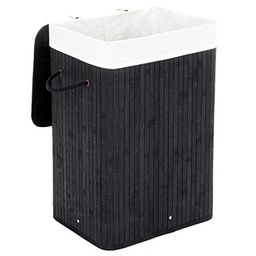 SONGMICS Wäschekorb aus Bambus, Faltbarer Wäschesammler mit Deckel und herausnehmbarem Wäschesack aus Baumwolle, 72 L Wäschebox, Wäschetruhe, 40 x 60 x 30 cm, schwarz LCB10B