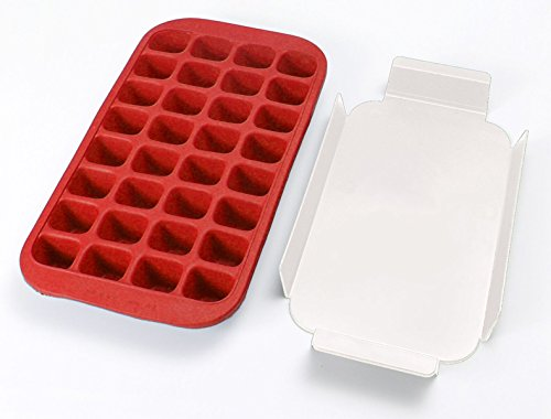 Lékué 0620100R01C050 Macchina per cubetti di ghiaccio, in Silicone, colore: rosso, 45 x 35 x 25 cm