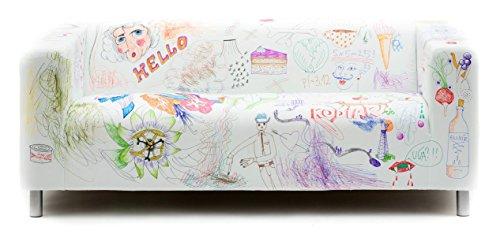 Artefly Copridivano per Divano Klippan e Federa per Cuscino, Linea: DY Markers Adatto per divani Ikea Klippan da 2 posti