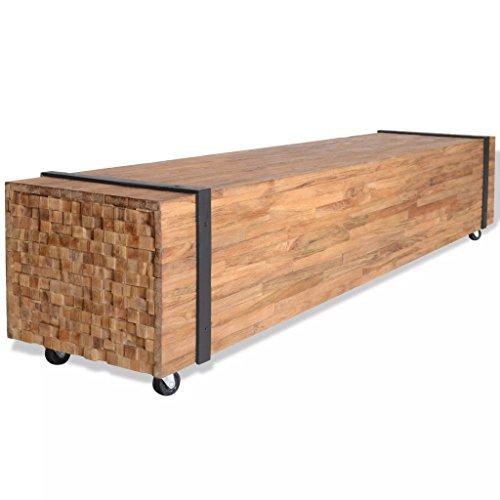 Festnight Mobile/Rialzo Porta TV Stile Industriale Design in Legno di Teak con Ruote 150x30x30 cm