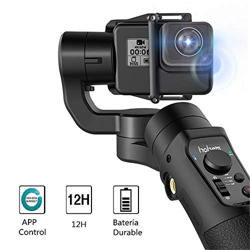 3-Axis Gimbal Estabilizador para Cámaras de Acción, GoPro Hero 7/6/5/4/3, dji Osmo Action, Yi CAM 4K, AEE, con Modo Deportivo Actualizado, 12H de Tiempo de Seguimiento de Cara/Objeto, App Control