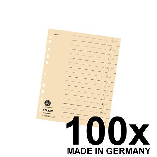 Falken Trennblätter aus Recycling-Karton für DIN A4 100er Pack hellchamois Trennlaschen Trennblätter Ordner Register Kalender Blauer Engel