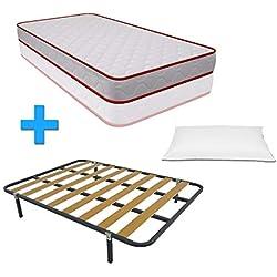 Duermete Cama Completa Colchón Vale Reversible + Somier Basic con 4 Patas 27cm + Almohada Tacto Sedoso, 90 x 190, 90x190