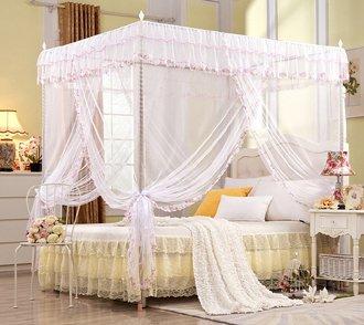 Regalo! Baldacchino da principessa per letto matrimoniale, bianco , White, King (1 X Bed Canopy+Bed...