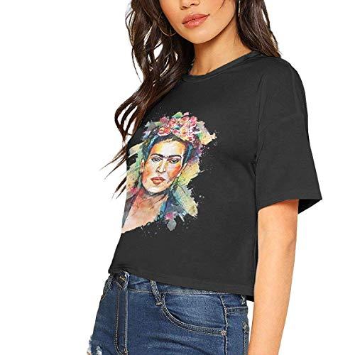 Wnocdmv Frida Kahlo Sexy Exposed Navel Female T-Shirt Bare Midriff Crop Top