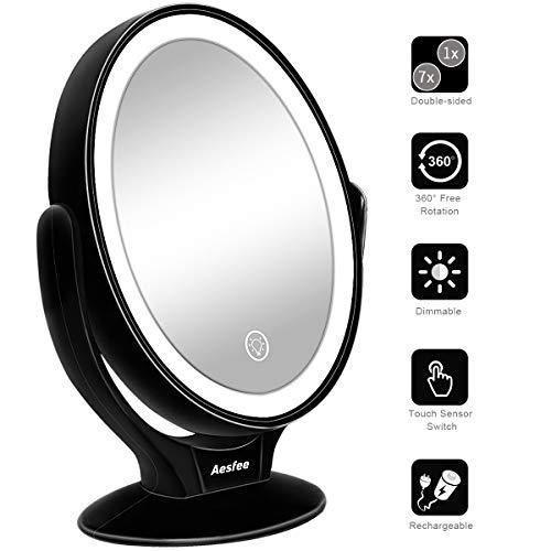 Specchio da Trucco Doppia Faccia con Luci a LED,Ingrandimento 1x/7x Specchio Cosmetico con Rotazione...
