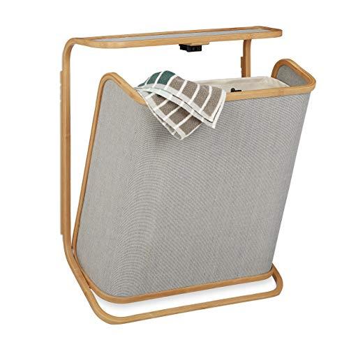 Relaxdays Wäschekorb für die Wand, aufklappbarer Wäschesammler aus Bambus, 40 L, HxBxT: 67 x 53,5 x 21 cm, natur-grau