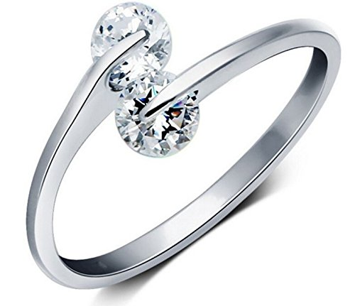 Karatcart Platinum Plated Trendy Elegant Austrian Crystal Adjustable Ring for Women