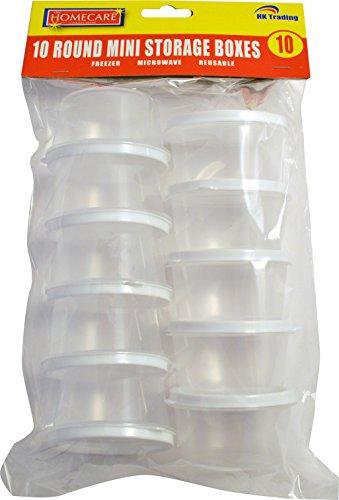 10x redondo Mini plástico alimentos recipientes de almacenamiento