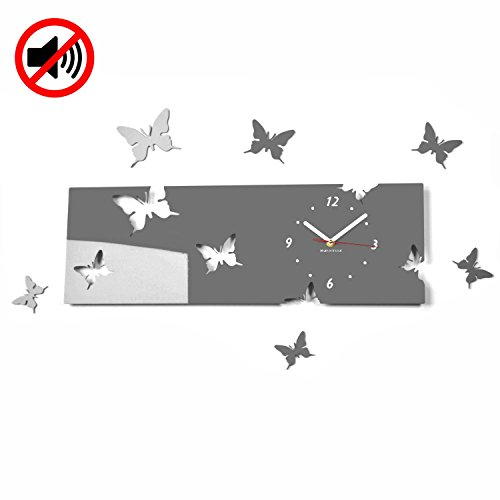 Grande orologio da parete salotto moderno FARFALLE orizzontale grigio decorativo silenzioso 20 x 60 cm