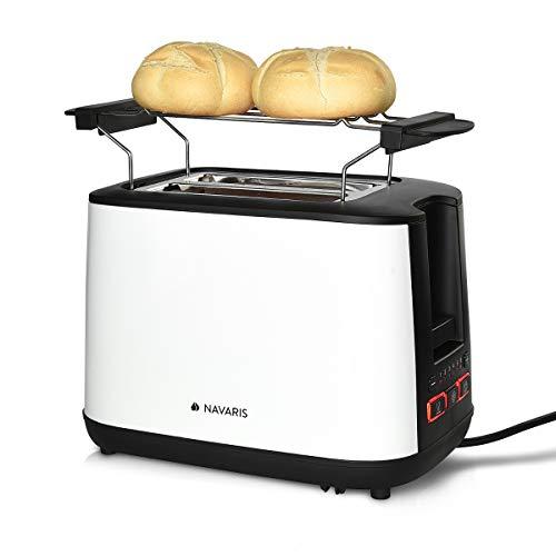 Navaris Tostapane Doppio per 2 Fette Pane Toast - in Metallo 1000W - Toaster Automatico con 2...