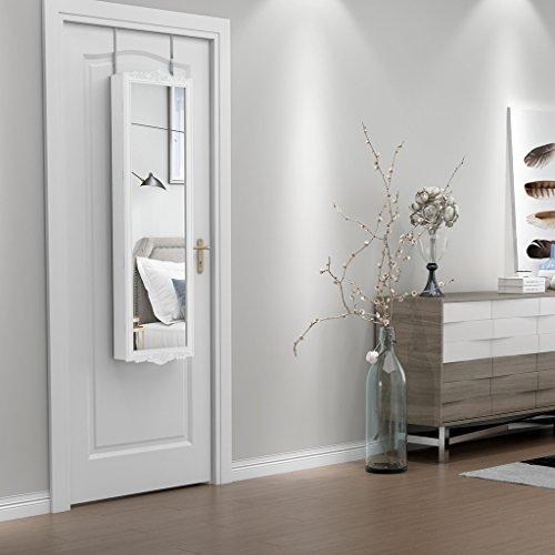 LANGRIA Hängend Schmuckschrank Spiegelschrank Türmontage/Wandmontage mit 2 Schubladen und 3 Höhenverstellbarkeit (36,7 x 9 x 121,5 cm, weiß) - 3