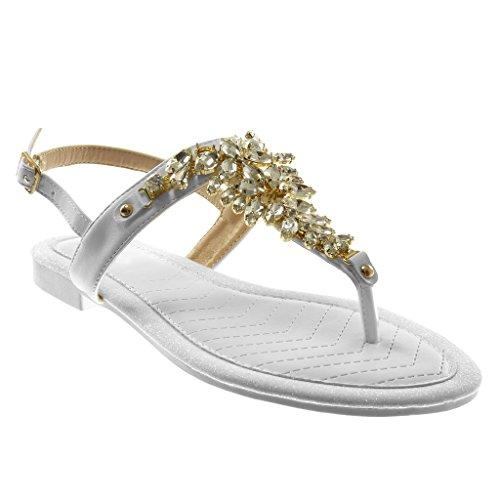 Angkorly - Scarpe Moda Sandali Infradito con Cinturino alla Caviglia Cinturino Donna Gioielli Strass...