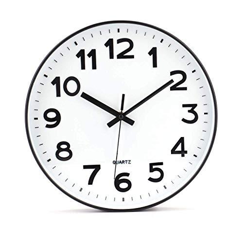 Tebery - Orologio da parete moderno, non ticchetta, fai da te, per soggiorno, cucina, ufficio (30,5 cm, bianco)