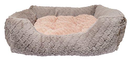 Rosewood 04404 Luxus-Hundebett Small aus kuschelig weichem Pelz mit Wirbelmuster und Plüsch-Wendekissen innen - Maschinenwäsche, 46x36cm, grau/pink