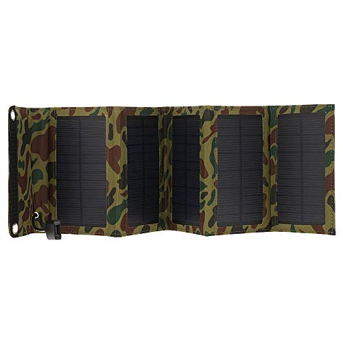 Decdeal 10W/5V Portable Solar Charger with USB Port Foldable 5 Solar Panel Camping Hiking Travel Compact Solar Power Phone Charger for Tablet Laptop Cellphones Camouflage