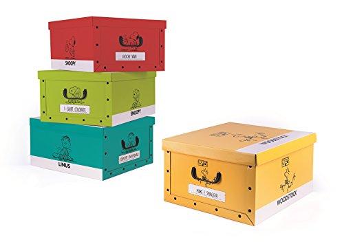 Excelsa Peanuts Set 4 Scatole Portaoggetti Multiuso, Cartone, Multicolore, 40 x 50 x H. 25 cm 4...