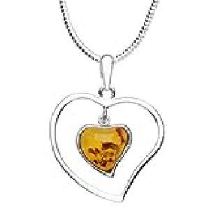 InCollections  - Collar de mujer de plata con ámbar en forma de corazon de 42 cm