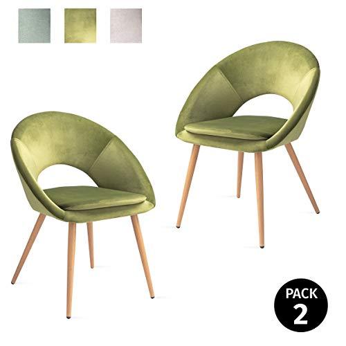Mc Haus Pack 2 sedie Laguna nordico  mela salone sala pranzo ,Verde 46x43x82cm