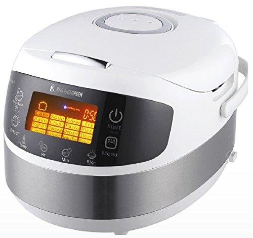 RNG EKO GREEN (3-in-1) Digital Smart Electric Multifunction Cooker/Rice Cooker/Stir Fryer [Capacity-1.8 Litre, Size-5 L, White]