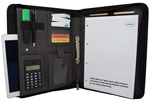 Schreibmappe K.DESIGNS A4 grau/schwarz- Mappe aus hochwertigem imitiertem Leder - Ihr idealer Organizer mit Reissverschluss + Ringbuch zum Aufheben von Dokumenten - Perfekt als Konferenzmappe