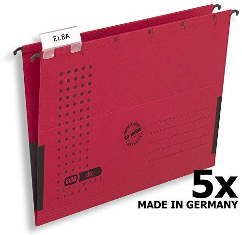 Hamelin GmbH Elba 100560145 - Cartella sospesa'Chic Ultimate', lati chiusi, con bandelle, confezione da 5 pezzi, colore: Rosso