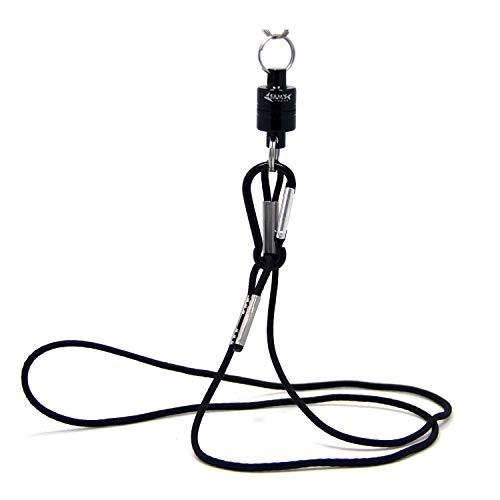 Sams, Clip magnetico di bloccaggio con cordino per rilascio di retino, resistenza 3,5kg, Black