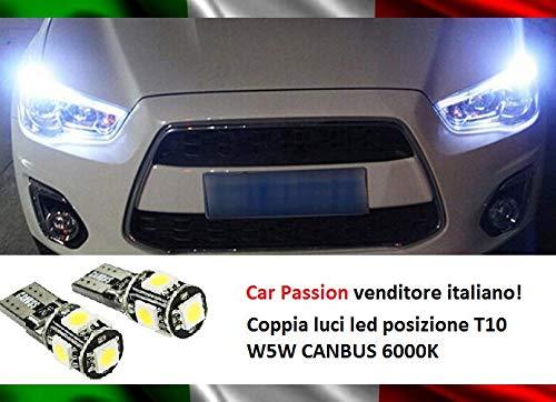 Luci Posizione Led CANBUS T10 W5W 6000K 5 Led SMD Coppia Lampadine NO ERRORE