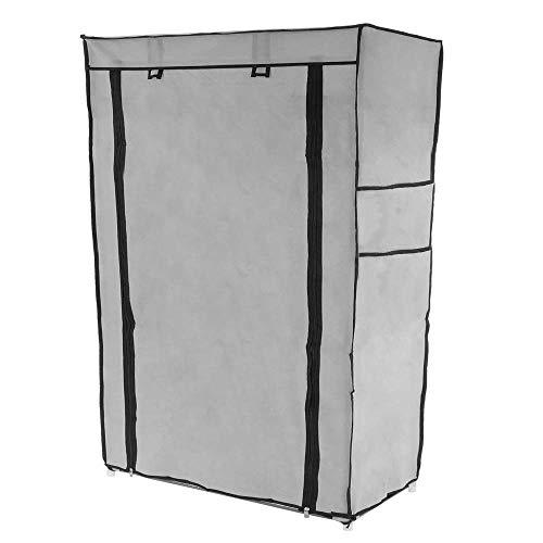 PrimeMatik - Armadio Guardaroba e Scarpe in Acciaio Tessuto 60 x 30 x 93 cm Grigio con Porta...