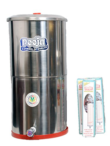 Pooja 25 Liters Stainless Steel Water Filter with 3 Candles, 1Piece, Silver