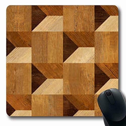 Gsgdae - Tappetino per mouse con motivo astratto a 3 pannelli in legno marrone, pavimento in...