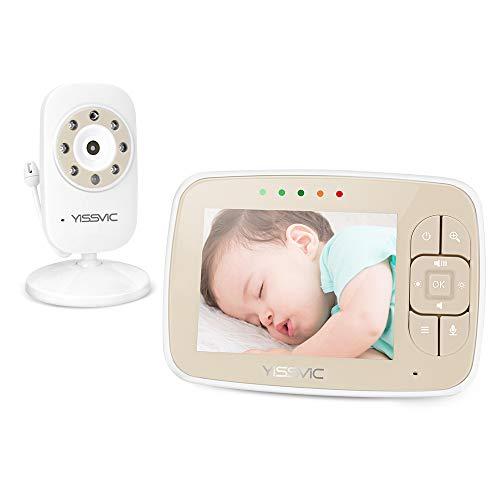 Yissvic Baby Monitor Schermo 3,5 pollici HD LCD Babyphone con Modalità VOX 2x Zoom Interfono Visione Notturna Fino a 4 Telecamere Collegabili
