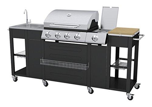 VidaXL 40426 Barbecue Zona cottura Gas 2900W Nero, Acciaio inossidabile barbecue e bistecchiera