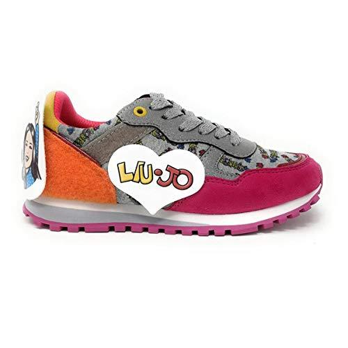 Liu-Jo Me Contro Te Sneakers Lacci Bimba/Ragazza in Tessuto Glitter E VECLRO + Adesivi 4XX799TX082/00021 (33 EU)