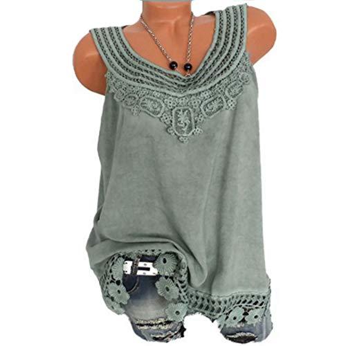 Lucky Mall 2018 Damen Sommer Mode Frauen Lose Ärmellose Tank Top Frauen  O-Neck ärmellos Spitze Plus Größe Weste Tops Lose T-Shirt Bluse Elegante  Lässige ... d58e3498d1