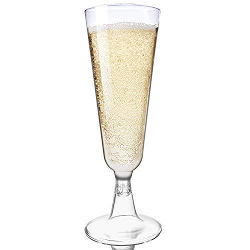 48 Flute da Champagne Eleganti in Plastica, 150 ml - Chiaro Come Vetro, Infrangibile - Monouso...