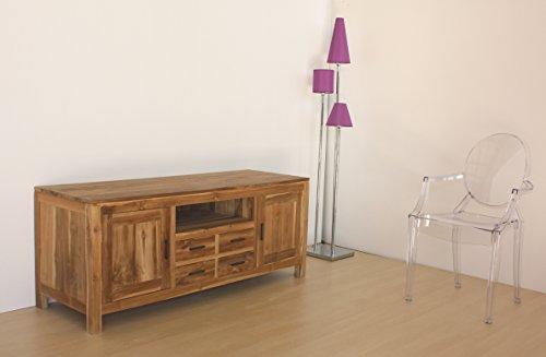 Mobile porta Tv in legno NATURALE Teak massello, stile moderno country chic, realizzato...
