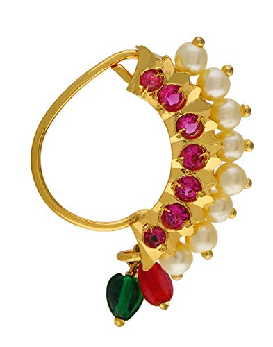 VAMA FASHIONS Gold Plated Maharashtrian Nath Clip on Combo Nose Ring Without Piercing for Women 3