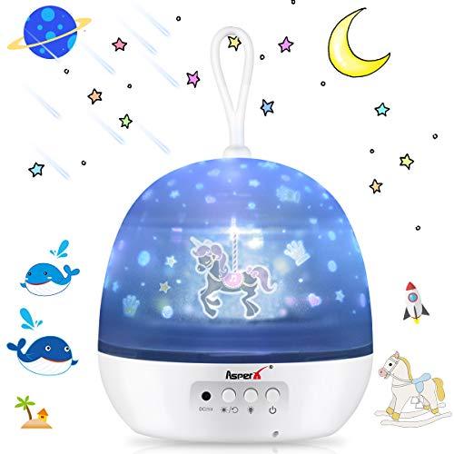 [Aggiornamento] Proiettore per Bambini, AsperX 4 in 1 Lampada Proiettore Oceano & Stella Proiettore...