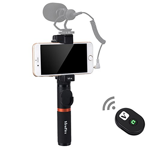 Viewflex Smartphone Video Griff VF-H3 Vollmetall-Bluetooth-Fernbedienung Griff mit Stativadapter für iPhone X 8Plus 7 6s Samsung Galaxy S8+ S8 Note3 Huawei Android(Bluetooth Griff Griff)