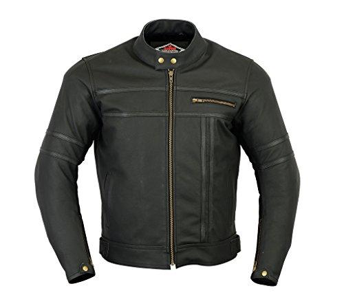 Texpeed - Herren - Motorradjacke aus mattem Leder - Zweifarbig - Schwarz 1