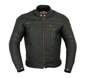 Texpeed - Herren - Motorradjacke aus mattem Leder - Zweifarbig - Schwarz 6