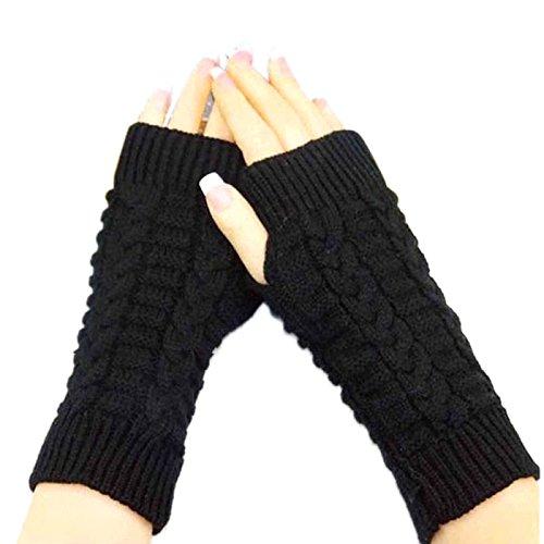 Bold N Elegant Knitted Woollen Warm and Comfortable Fingerless Gloves Thermal Mittens Winter Gloves Accessories Hand Warmer Gloves (Black)