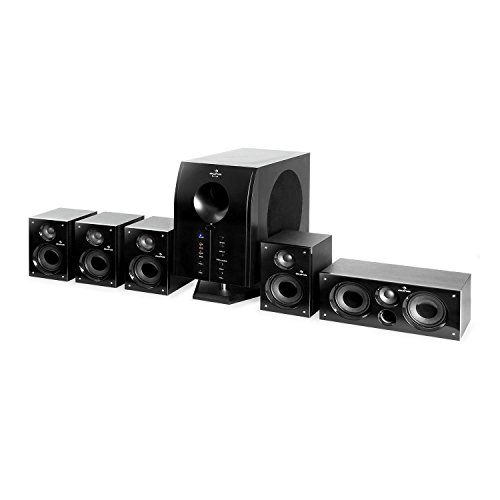 auna Areal 525 BK - Style Edition, Home Cinema 5.1, Surround Sound Equipment, Home Theater, 5 Diffusori Surround, Subwoofer BassReflex, AUX, 125W RMS, 20-20.000 Hz, Telecomando, Nero