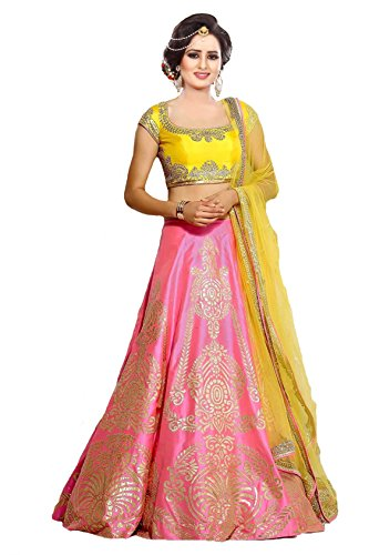 Ziyaan Women's Silk Lehenga With Blouse Piece And Dupatta (Pink)