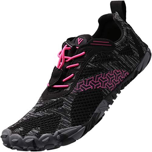 BRONAX Damen Traillaufschuhe Minimalistische Barfußschuhe 5 Five Finger Zehenschuhe Fivefinger Trail Laufschuhe Gym Workout Fitness für Frauen Tennisschuhe Crossfit Rosa 38 EU
