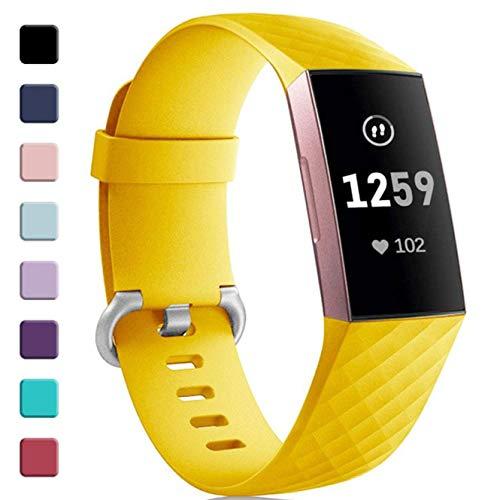 Zekapu Per Fitbit Charge 3 Cinturino, Cinturino di Ricambio Classico Regolabile con Fibbia in Lega di Alluminio Classica Compatibile per Fitbit Charge 3, Grande Mango Giallo