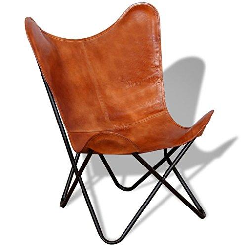 vidaXL - Poltrona relax in vera pelle, motivo farfalla, stile vintage, marrone